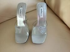 SACHA BRAND NEW SILVER, CLEAR AND DIAMANTÉ MULES SHOES SIZE 4 37