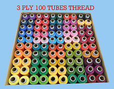 100 REELS COLOR THREAD BOX POLYESTER SEWING MACHINE HAND STITCHING X 300 MTR