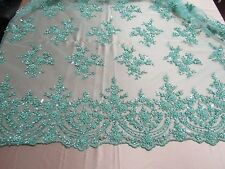 Mint French Design Embroider And Beaded On A Mesh Lace. Wedding/Prom/Fabric .