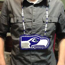 OOAK Seattle Seahawks inspired Hawk head hand beaded Medallion Necklace fan