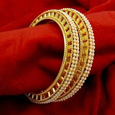 Indian Wedding Goldpalated 2PC Kada Bangles Bollywood Pearl Bracelet Jewelry 2*8