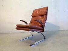 original mid century modern leather chrome lounge chair baughman area
