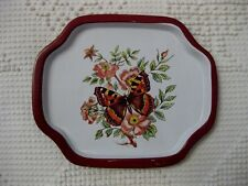 VINTAGE? SHABBY BUTTERFLY PRINT SMALL SERVING SNACK DRESSER TIP METAL TRAY CHIC