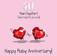 Fax Potato 40th Anniversary Greetings Card - Happy Ruby Anniversary