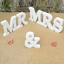 MR & MRS WOODEN LETTERS CHIC SIGN - FREESTANDING FOR WEDDING CAKE TOP TABLE