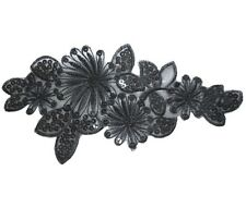 i216 Iron On Black Sequined Sequin Applique Flower Leaf