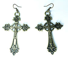 Chic 3D Vintage Gothic Big Large Cross Earrings Yellow Brass Bronze Tone Jewelry