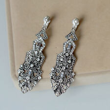 Costume Fashion Earrings Clip Silver Crystal Strass Art Deco Pendant Wedding B8