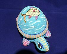 Ceramic Teal Blue Pottery Turtle Trinket/Jewelry Box Hand Painted in Mexico