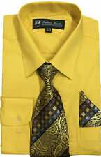 Men's Dress Shirt with Tie + Handkerchief, Come in 22 Colors Fortino Landi #21B