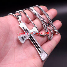 Men's Large Crucifix Cross Pendant Necklace Stainless Steel Box Link Chain 24''