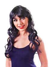 Sexy Long Wavy Black Wig Katy Perry Saloon Girl Cowgirl Gothic Fancy Dress