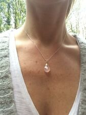 DESIGNER STERLING SILVER ROSE QUARTZ  NECKLACE JANUARY BIRTHSTONE JEWELLERY GIFT