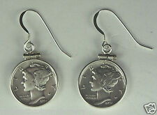 Antique Mercury Dime Earrings .925 Silver Coins Sterling Silver Bezels and Hooks