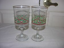 Holly & Berry Stemware Goblet Glasses Arby's 1986 Christmas Collection lot of 2