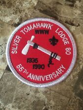 Boy Scout OA SILVER TOMAHAWK LODGE 80 Round 55th Ann Patch 136 80 67 WWW IA IL