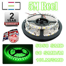 5m 12v Green LED Strip Light 5050 IP65 300SMD 18LM/SMD 60SMD/m Bright Waterproof