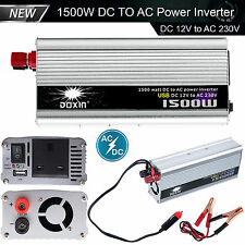 1500w Power Inverter DC a AC 12v MODIFICATO ONDA SINUSOIDALE CONVERTITORE USB 210-230v AUTO