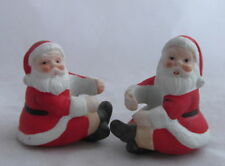 Vintage Christmas China Figural Santa Claus Taper Candle Huggers Decorations