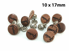 "10 x 17mm (43/64"") Hammer On No Sew Jean Stud Buttons with Pins, Bronze, Premium"