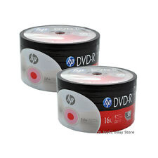 100 (50*2) Pack HP Brand Logo Blank 16x DVD-R DVDR Recordable Disc Media