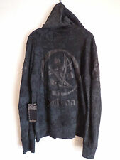 Men's Salvage sun spade leather design hoodie black jacket Karma SZ XXL New