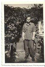 WWII German RP- Army Soldier- Uniform- Rolled Up Sleeves- In The Garden- 1940s