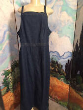 AVENUE BLUES 16 DENIM BLUE COTTON SLEEVELESS STRAPS ANKLE LENGTH JUMPER DRESS