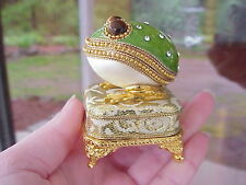 REAL Decorated Carved Pigeon Egg Engagement Ring Gift Box Collectible Frog Music