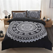 Indian Black&White Peacock Mandala Double Duvet Cover Set Bohemian Hippie Boho