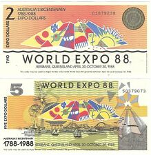 Australia World Expo 2 & 5 Dollars 1988 Brisbane UNC Banknote Set - 2 pcs