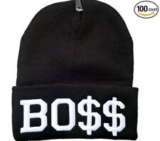 BOSS BO$$ BEANIE HAT (BLACK WITH WHITE LOGO) Free Shipping USA