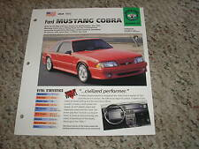USA 1993 Ford Mustang Cobra Hot Cars Muscle Cars Group 4 #85 Spec Sheet Brochure
