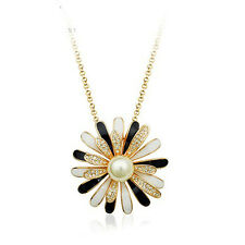 18K ROSE GOLD PLATED GENUINE CLEAR SWAROVSKI CRYSTAL & WHITE  PEARL  NECKLACE