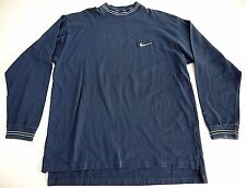 VINTAGE 90s NIKE SWOOSH mens long sleeve mock turtleneck t shirt XL blue