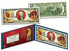 Chinese Zodiac -YEAR OF THE TIGER - Colorized $2 Bill US Lucky Money-New Lunar