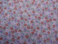 5 YARDS OF VINTAGE PEACHY PINK COTTON BLEND FABRIC WITH TINY FLOWERS