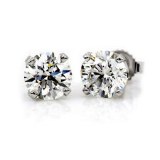 4CT Round Lab Diamond Stud Earrings 14k White Gold Brilliant Solitaire Screwback