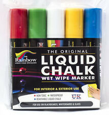 RAINBOW CHALK LIQUID CHALK PEN 15MM BROAD NIB 5 PACK ASSORTED USE ON BLACKBOARDS