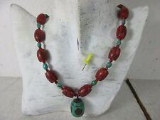 echter alter Antikschmuck Halskette rote Koralle & Türkis original Tibet ~1960