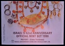 "1990 ISRAEL'S 42nd Anniversary Official Piefort Mint Set of Coins ""Star of David"