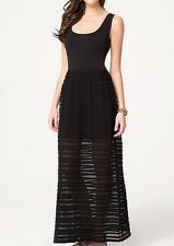 BEBE BLACK CROCHET NOVELTY KNIT MAXI DRESS NEW NWT $129 SMALL S