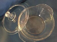 Fire King Glass Bowl Dish w/ Lid 8 oz Clear Fridge Oven Casserole Small Cooking