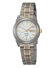 NEW WOMEN'S SEIKO 2-TONE FULL TITANIUM SAPPHIRE DAY / DATE WATCH SXA115P1