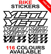 Yeti decals stickers sheet (cycling, mtb, bmx, road bike) die-cut logo