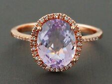 2.63ct Faceted Oval Pink Amethyst & Diamonds 14K Rose Gold Halo Ring - Size 6.5