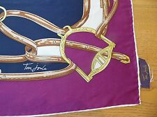 TOM JOULES SILK SQUARE SCARF, EQUESTRIAN THEMED, NAVY/MAROON/GOLD