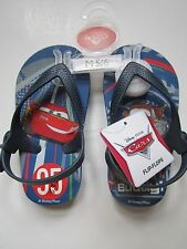 Disney Cars Boys Blue Flip Flop Sandals Shoes Medium 5/6 Hang on Buddy New