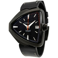 Hamilton Ventura Elvis80 Automatic Black Dial Black Leather Mens Watch H24585731