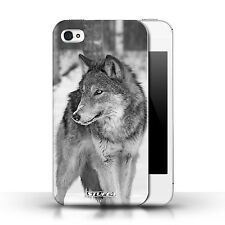 Stuff4 Hülle/Case für Apple iPhone 4/4S/Wolf/Mono Zoo-Tiere